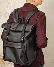 Стильный мужской черный рюкзак роллтоп из экокожи городской, повседневный, ролл