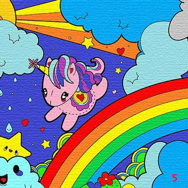 Картина по контуру Рожевий єдиноріг на веселці, 25*25см, Барви, картина-розмальовка без номерів
