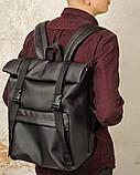 Рюкзак мужской черный роллтоп матовая эко-кожа (качественный кожзам) повседневный, офисный, для поездок, фото 7