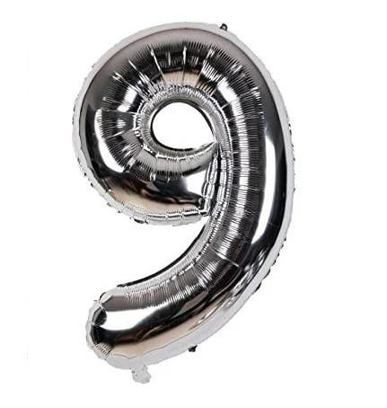 Фольгована цифра 9, срібло, 1м