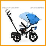 Велосипед трехколесный с ручкой детский Turbo Trike М 5448 HA-5 надувные колеса голубой, фото 3