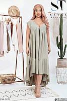 Легкое летнее женское платье за колено свободного кроя размеры батал 50-64 арт. 7415