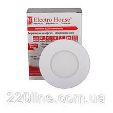 ElectroHouse LED панель кругла 4100К / Ø 85мм / Ø раб. 65 мм / 3W / 270Lm