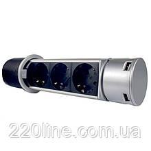 ElectroHouse Меблева розетка (вертикальна) 3 x 16A, 2 x USB 2.4A, провід 3 x 1.5 mm²