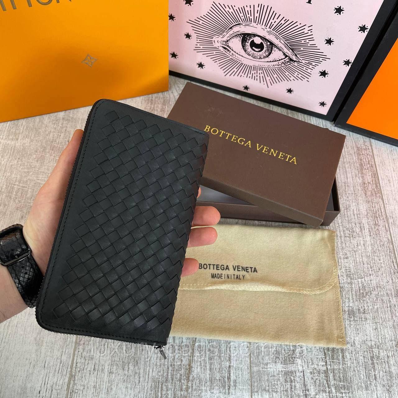 Кожаный клатч Bottega Veneta брендовый кошелек