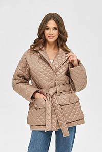 Модная демисезонная стеганая куртка с накладными карманами 42,44,46,48,50 размер