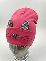 ОПТ. Дитяча трикотажна шапочка ковпак для дівчинки подвійна з відворотом «Вушка», фото 1