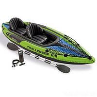 Лодка-байдарка 2-х местная с надувным дном, веслами, ручным насосом Challenge K4 Intex 68306 NP