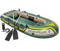 Лодка надувная трехместная Intex 68380 Seahawk 3 Set с веслами и с насосом