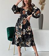 Шелковое платье миди с цветочным принтом