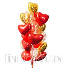 Набор шаров на день рождения шары в форме сердца и шары с конфетти