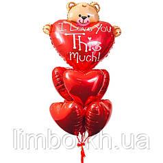 Воздушные шары сердца и фольгированная фигура Мишка с сердцем