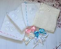 """Детский вязанный летний конверт на выписку """"Аист"""", конверт-одеяло (ЛЕТО), конверт-плед для новорожденного"""