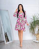 Яркое женское пудровое платье-разлетайка в крупный розовый цветочный принт