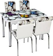 """Комплект обеденной мебели """"Бабочки"""" (стол ДСП, каленное стекло + 4 стула) Лидер, Турция"""