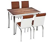 Комплект кухонной мебели коричневый (стол ДСП, каленное стекло + 4 стула) Лидер, Турция