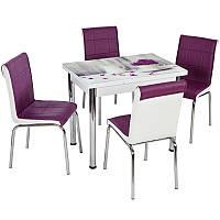 """Комплект обеденной мебели """"Vazo"""" 110*70 см (стол ДСП, каленное стекло + 4 стула) Лидер, Турция"""