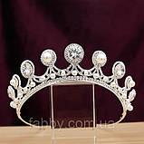 Luxury не висока класична діадема з перлинами, цирконами, посріблена основа півколом, фото 6