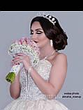 Luxury не висока класична діадема з перлинами, цирконами, посріблена основа півколом, фото 5