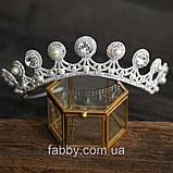 Luxury не висока класична діадема з перлинами, цирконами, посріблена основа півколом, фото 8