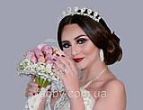 Luxury не висока класична діадема з перлинами, цирконами, посріблена основа півколом, фото 4