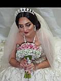Luxury не висока класична діадема з перлинами, цирконами, посріблена основа півколом, фото 10