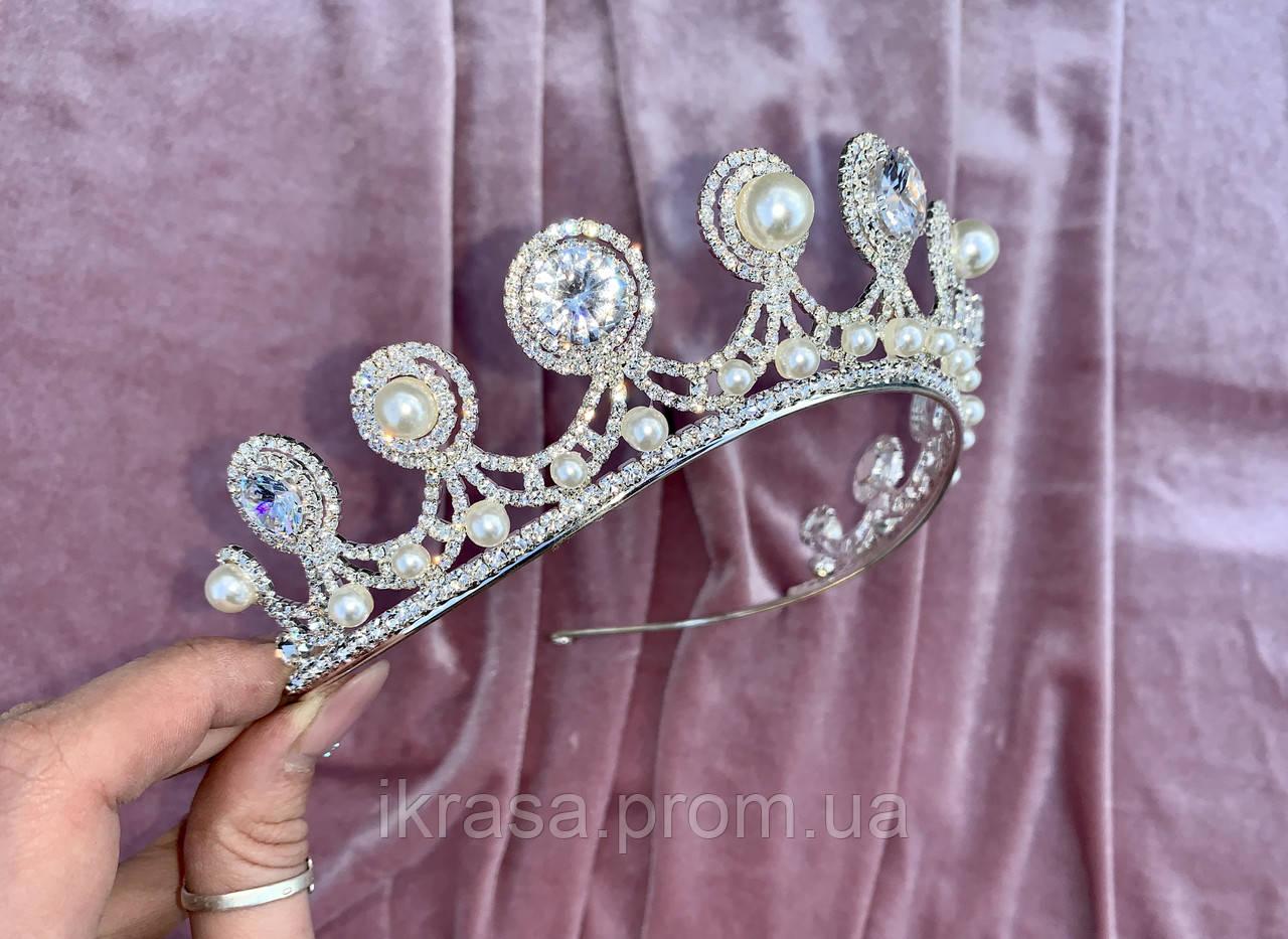 Luxury не висока класична діадема з перлинами, цирконами, посріблена основа півколом