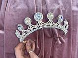 Luxury не висока класична діадема з перлинами, цирконами, посріблена основа півколом, фото 3