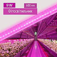 Фитосветильник линейный светодиодный для растений - 9 Вт, 600мм, свет для рассады, растений, цветов/ Фитолампа