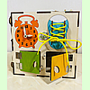 "Бизикуб ""Медузка"" 30*30*30 на 44 элементов - развивающий домик, бизиборд, бизидом, бизикубик, фото 5"