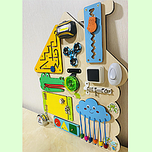 """Розвиваюча дошка розмір 42*37 Бизиборд для дітей """"Будиночок"""" 36 елементів!, фото 3"""