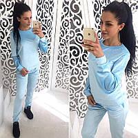 Костюм женский велюровый стильный, голубой, 505-711-7