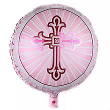 Фольгированный круглый шар крестик на крестины для девочки  45 см