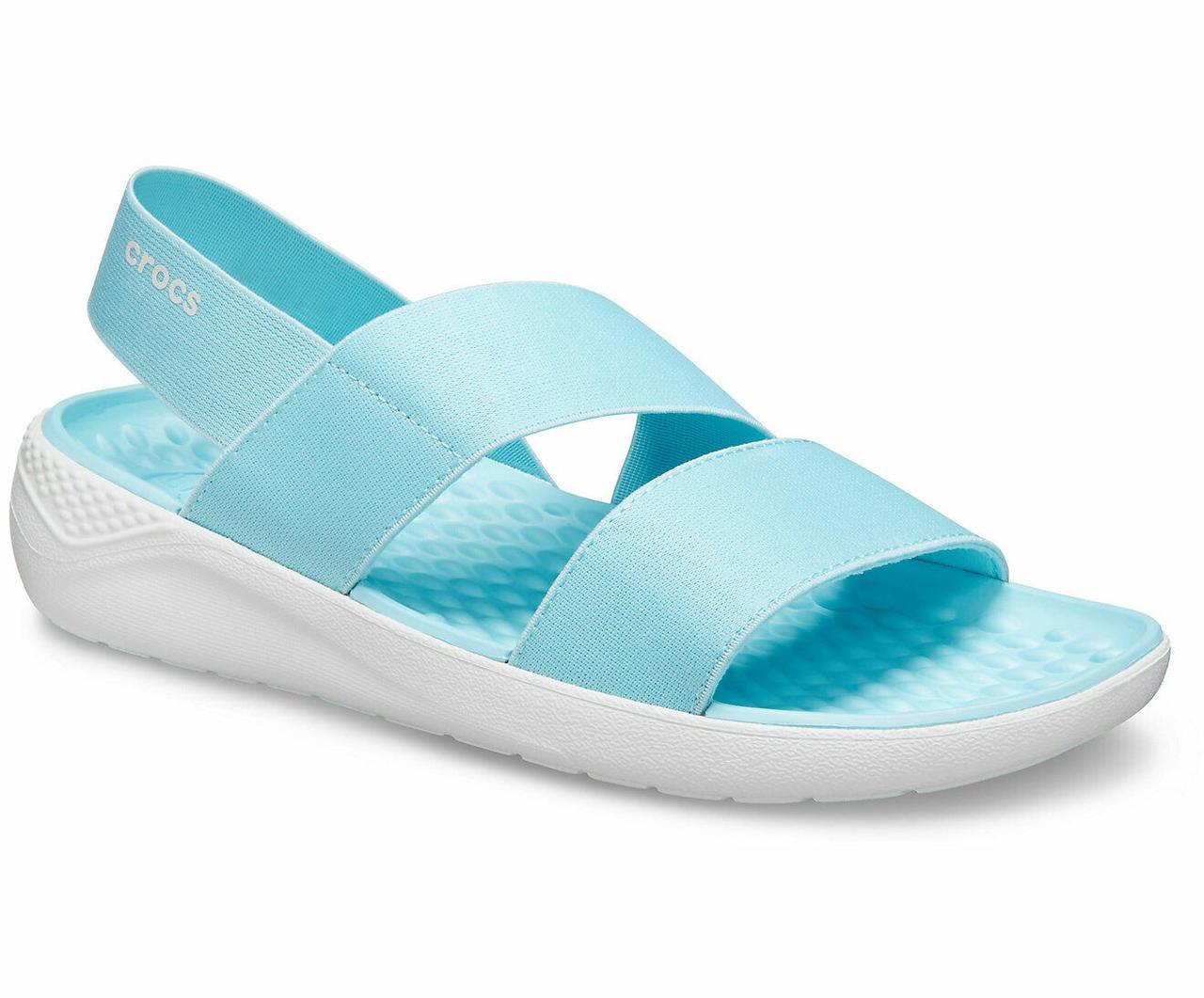 Босоніжки жіночі Крокси ЛайтРайд Стретч оригінал / Crocs women's LiteRide Stretch Sandal (206081), Блакитні