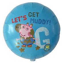 Фольгированный воздушный шар свинка пеппа давай запачкаемся 45 см