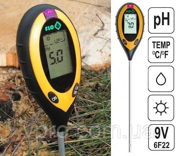 Професійний аналізатор ґрунту 4 в 1 FLO 89000 (РН, вологість, освітленість, температура). Польща