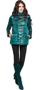 Модная изумрудная куртка женская модель 15115