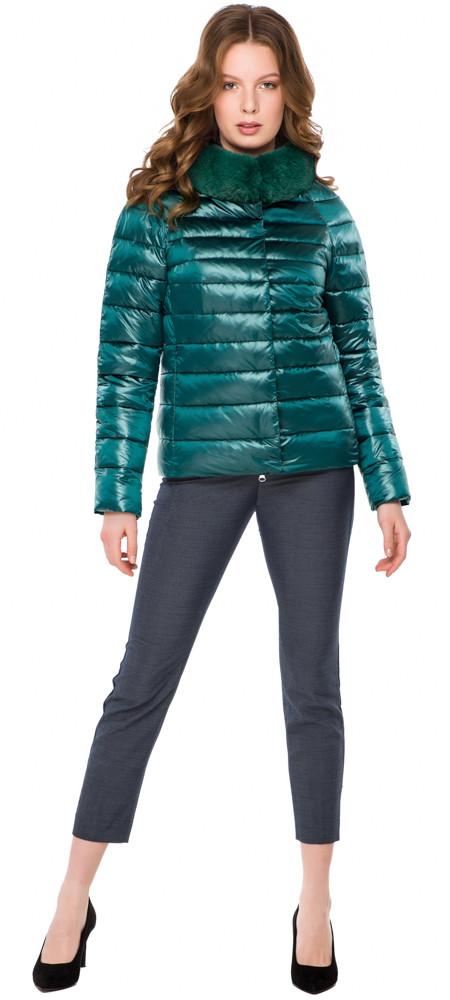Смарагдова зручна куртка жіноча модель 40267