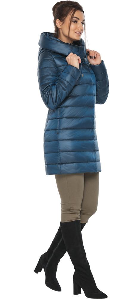 Куртка на змійці жіноча колір темна блакить модель 65085