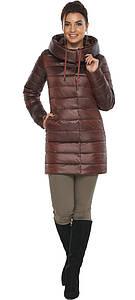 Каштановая женская куртка с карманами модель 65085