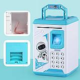 Детская электронная копилка сейф  ROBOT BODYGUARD с кодовым замком и отпечатком пальца Blue, фото 4