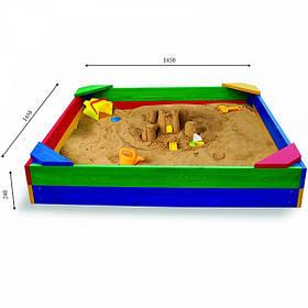 Детская деревянная цветная песочницаТМ Sportbaby, размер 1.45х1.45х0.3м