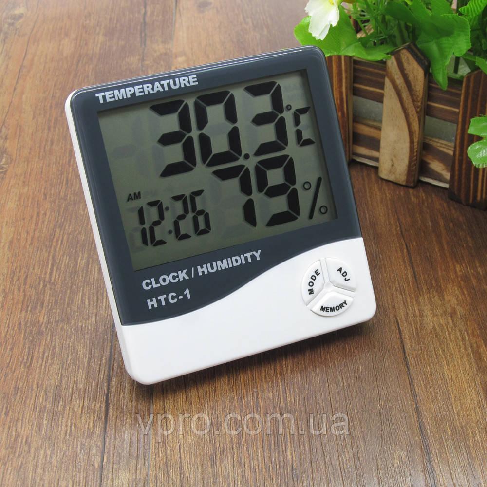 Цифровий термо-гігрометр AIRO HTC-1 (термометр: -10 °C~+50 °C; гігрометр: 10%-99%), годинник, будильник
