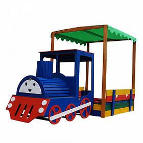 """Детская деревянная цветная песочница с навесом """"Паровоз"""" ТМ Sportbaby, размер 1.8х1.45х3м"""