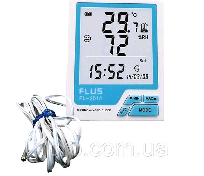 Цифровий термо-гігрометр Flus FL-201W (-20-60 С; 10%...99%) з виносним датчиком ( -40...+80°C)