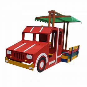 """Детская деревянная цветная песочница с навесом """"Пожарная машина"""" ТМ Sportbaby, размер 1.8х1.45х2.6м"""
