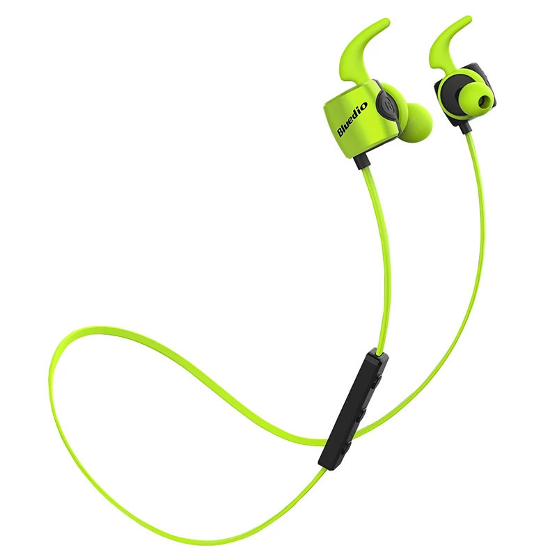 Беспроводные наушники Bluedio TE Sport Green с чехлом