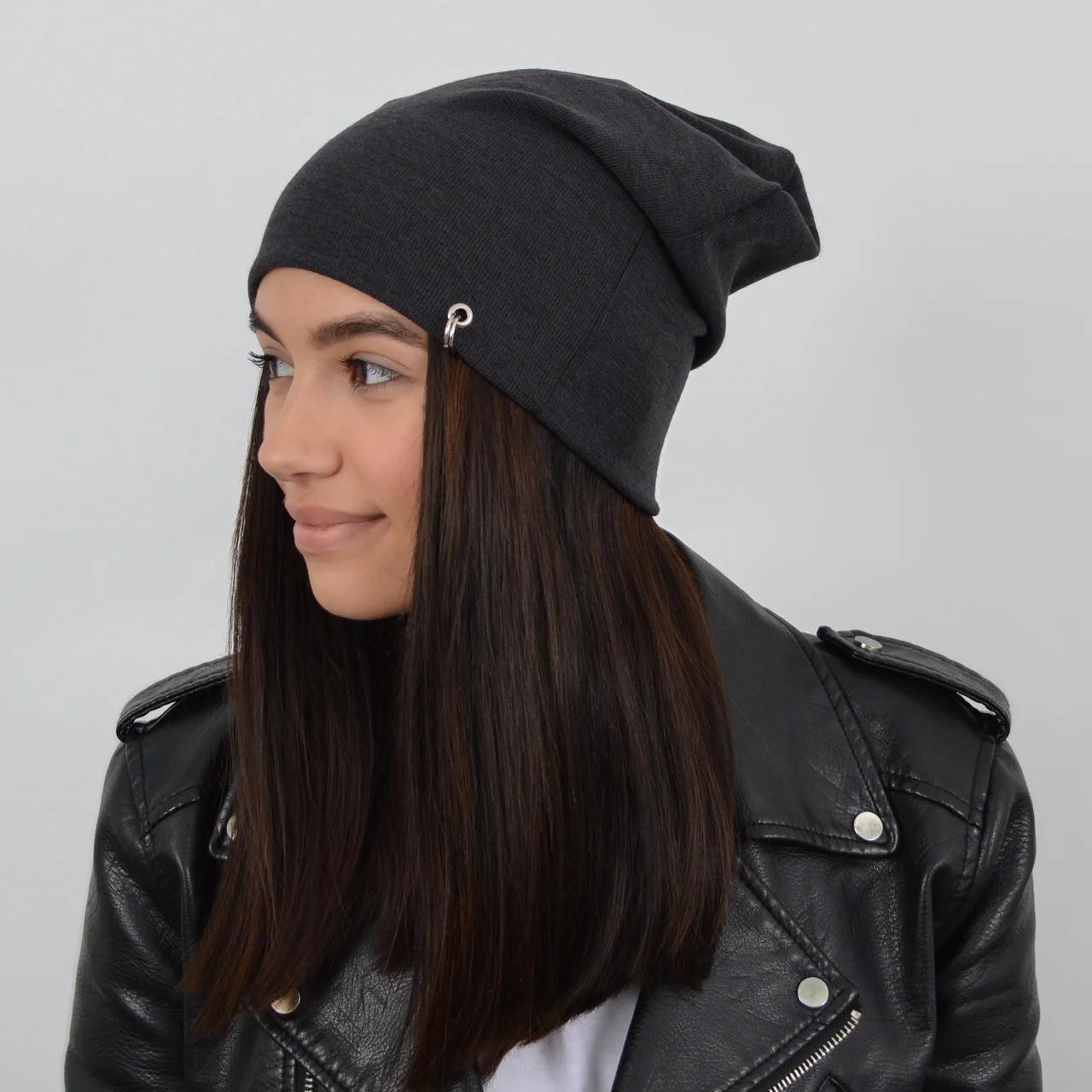 Молодежная трикотажная шапка Nord пирсинг, темно-серая
