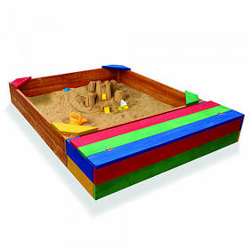 Детская деревянная цветная песочницас лавочкой ТМ Sportbaby, размер 1.45х1.45х0.3м