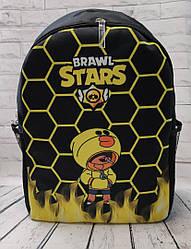 Brawl stars Детский подростковый рюкзак для мальчика бравл старс нейлон желтый соты с черным